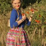 Пышная юбка в цветную полоску