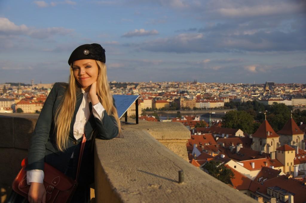 Вид на Прагу с башни храма