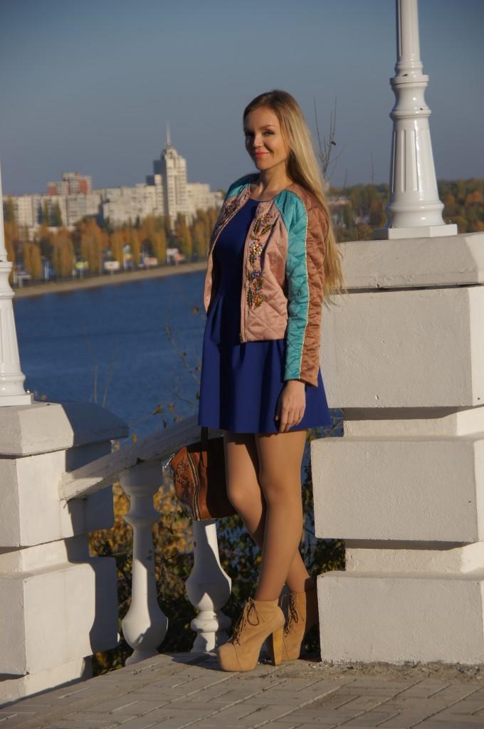Стеганая куртка с платьем