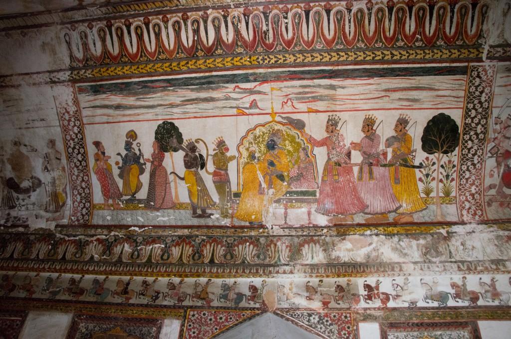 Настенные росписи, Дворцы Орчхи, Индия