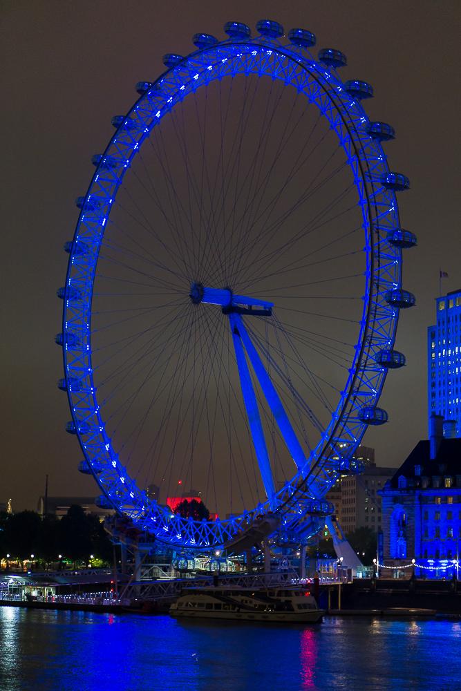 Лондонское колесо обозрения, вид ночью