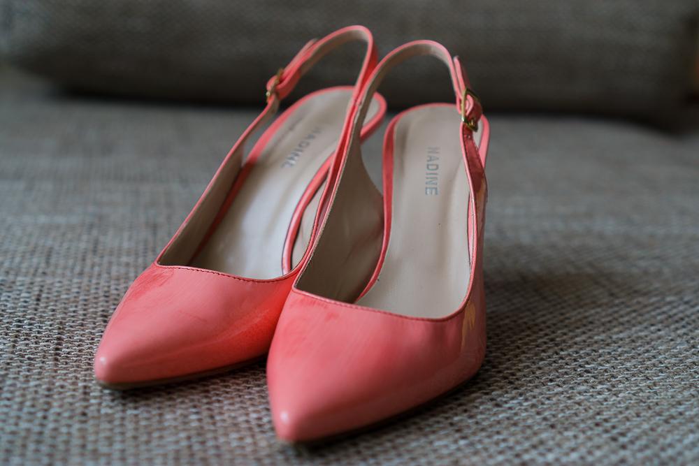 Ярко-персиковые туфли