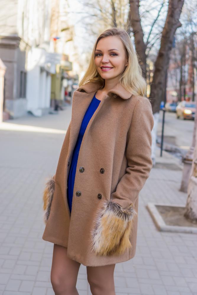 Пальто с меховыми карманами Меховица