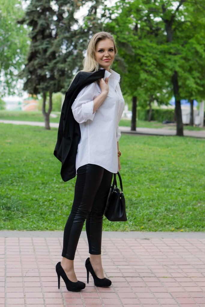 Женский смокинг и белая рубашка