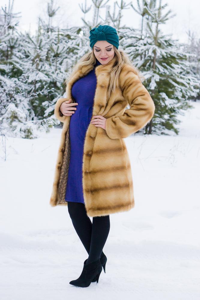 Беременный стиль зимой, рыжая шуба